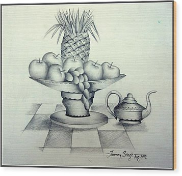 Fruits In Basket Wood Print by Tanmay Singh