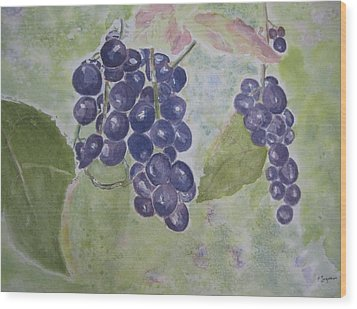 Fruits Of The Wine Wood Print