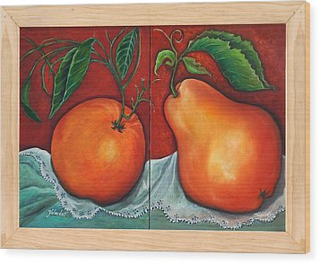 Wood Print featuring the painting Fruits Pears by Yolanda Rodriguez