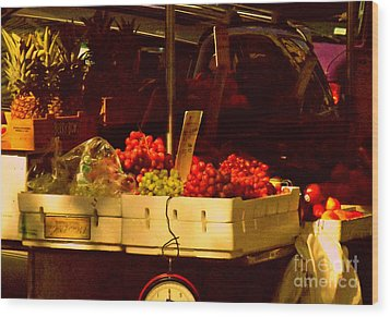 Fruitstand With Pineapples Wood Print by Miriam Danar