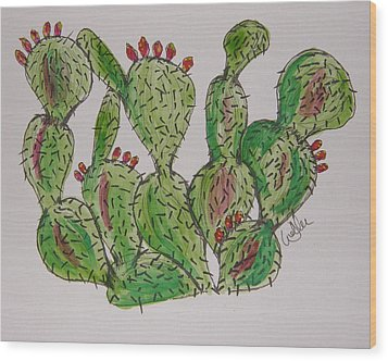 Fruity Prickly Pear Wood Print by Marcia Weller-Wenbert