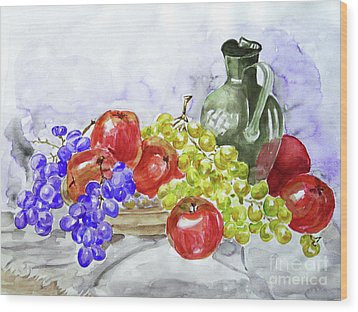Wood Print featuring the painting Fruit After Him by Jasna Dragun