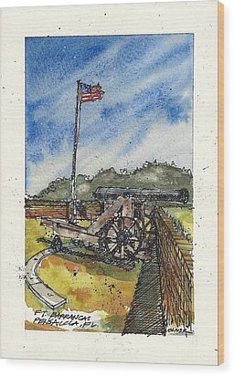 Wood Print featuring the mixed media Ft. Barrancas Cannon by Tim Oliver