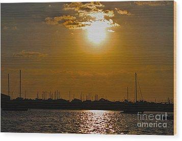 Wood Print featuring the photograph Ft. Pierce Florida Docks At Dusk by Janice Rae Pariza