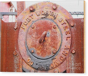 Ft Worth Steel Wood Print by Angela Wright