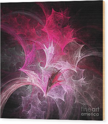 Fuchsia Fountain Abstract Wood Print by Andee Design
