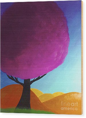 Wood Print featuring the painting Fuchsia Tree by Anita Lewis