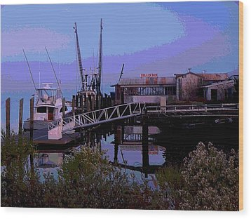 Wood Print featuring the painting Old Brunswick Fuel Dock by Laura Ragland
