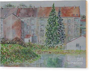 Wood Print featuring the painting Fuerth Flooded Mead by Alfred Motzer