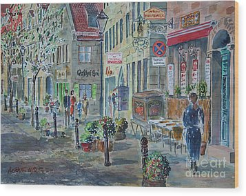 Wood Print featuring the painting Fuerth Gustavstrasse by Alfred Motzer