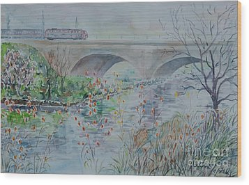 Wood Print featuring the painting Fuerth Seven Arch Bridge Siebenbogenbruecke  by Alfred Motzer