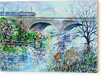 Wood Print featuring the painting Fuerth Seven Arches Bridge by Alfred Motzer