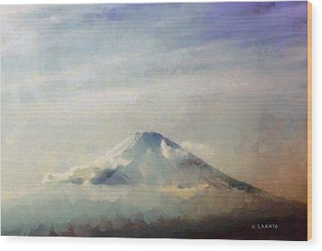 Wood Print featuring the painting Fuji Among The Clouds by Kai Saarto