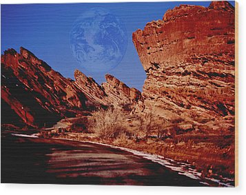 Full Earth Over Red Rocks Wood Print by Kellice Swaggerty
