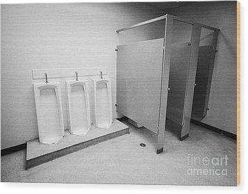 full length urinals and cubicles in mens toilet of High school canada north america Wood Print by Joe Fox