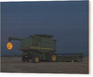 Wood Print featuring the photograph Full Moon And Combine by Rob Graham