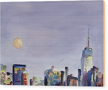 Full Moon And Empire State Building Watercolor Painting Of Nyc Wood Print by Beverly Brown
