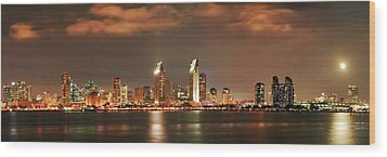 Wood Print featuring the photograph Full Moon And San Diego Skyline Panorama by Lee Kirchhevel