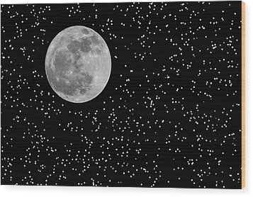 Full Moon And Stars Wood Print by Frank Feliciano