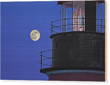Wood Print featuring the photograph Full Moon And West Quoddy Head Lighthouse Beacon by Marty Saccone