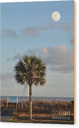 Full Moon At Myrtle Beach State Park Wood Print