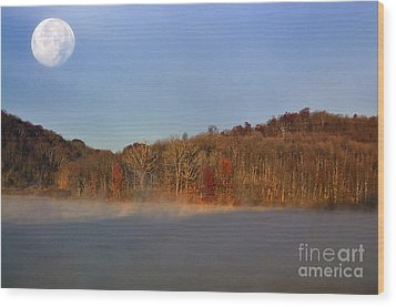 Full Moon Big Ditch Lake Wood Print by Thomas R Fletcher