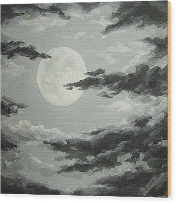 Full Moon In A Cloudy Sky Wood Print by Anna Bronwyn Foley