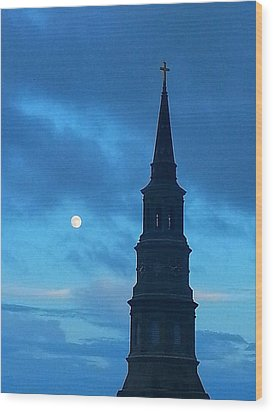Full Moon In The Holy City Wood Print by Joetta Beauford