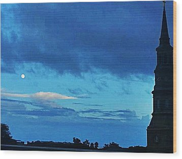 Full Moon In The Holy City Optimized Wood Print