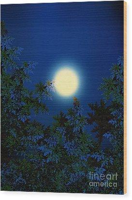 Full Moon Wood Print by Klara Acel