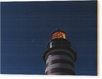 Full Moon On Quoddy Wood Print by Marty Saccone