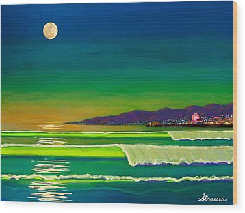 Full Moon On Venice Beach Wood Print