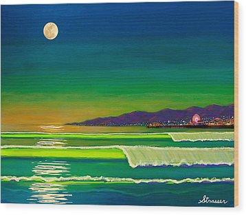 Full Moon On Venice Beach Wood Print