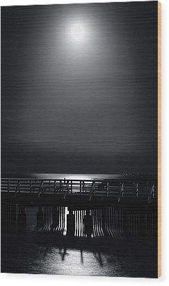 Full Moon Over Bramble Bay Wood Print by Peta Thames