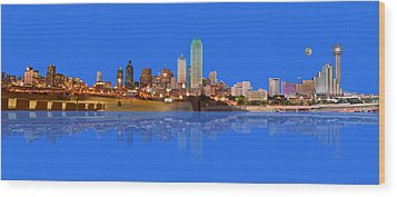 Full Moon Over Dallas Reflected Wood Print