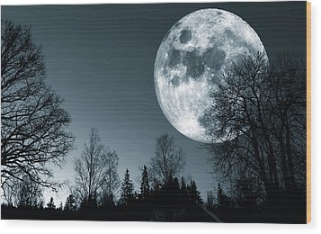 Full Moon Over Dark Forest Wood Print