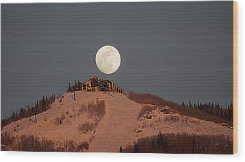 Full Moon Over Hazies Wood Print