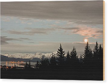 Full Moon Over Homer Alaska Wood Print