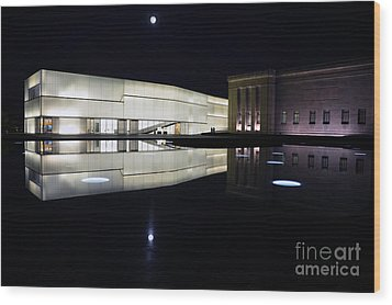 Full Moon Over Nelson Atkins Museum In Kansas City Wood Print