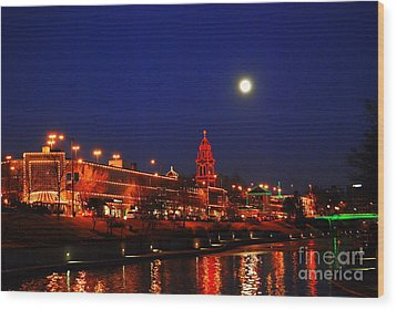 Full Moon Over Plaza Lights In Kansas City Wood Print