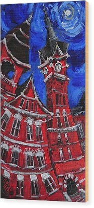 Full Moon Over Samford Wood Print by Carole Foret