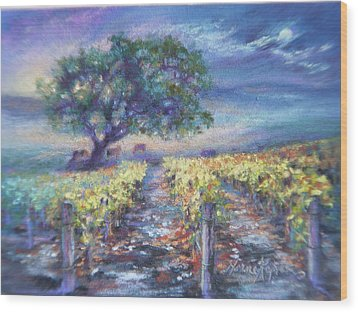 Full Moon Over The Vineyard Wood Print