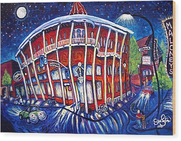Full Moon Over The Weatherford Wood Print by Steve Lawton