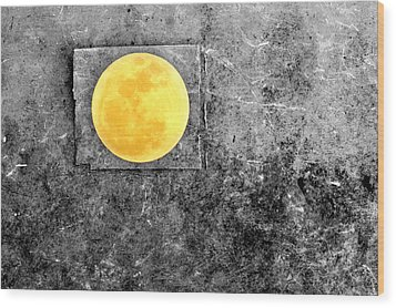 Full Moon Wood Print by Rebecca Sherman