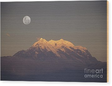 Full Moon Rise Over Mt Illimani Wood Print by James Brunker