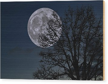 Wood Print featuring the photograph Full Moon Rising by Dennis Bucklin