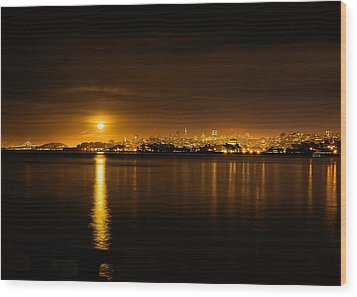 Full Moon Rising Over San Francisco Wood Print