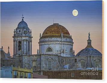 Full Moon Rising Over The Cathedral Cadiz Spain Wood Print