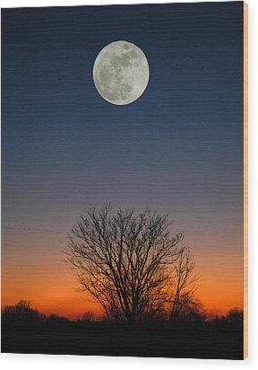 Full Moon Rising Wood Print by Raymond Salani III