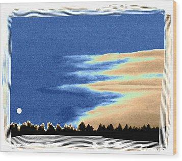 Full Moon Rising Wood Print by Will Borden